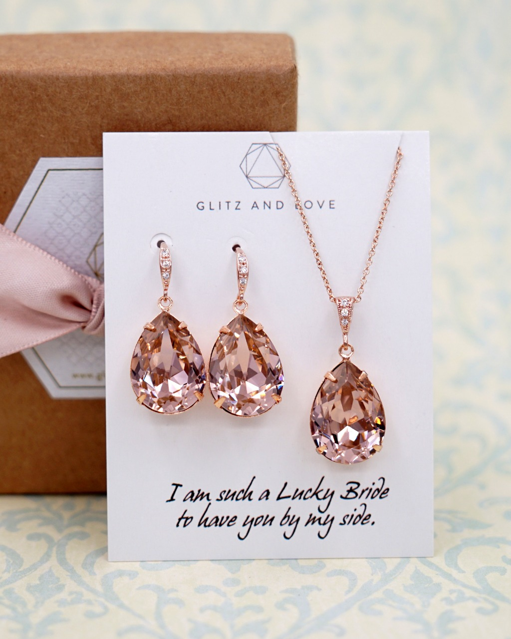 Rose Gold Swarovski Crystal Earrings and Necklace Jewelry set, weddings, brides, bridesmaids, bridal shower gifts, personalised message