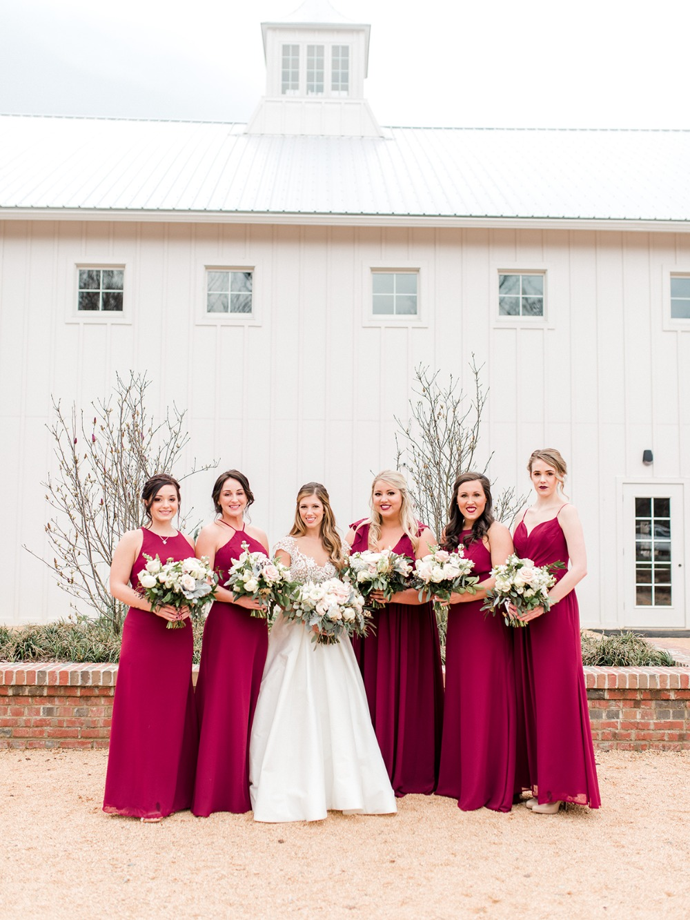 bridesmaids in fuchsia