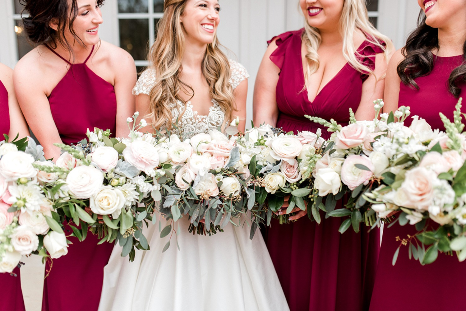 fuchsia bridesmaid dresses with blush bouquets