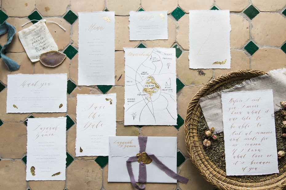 hand drawn gold wedding invitations