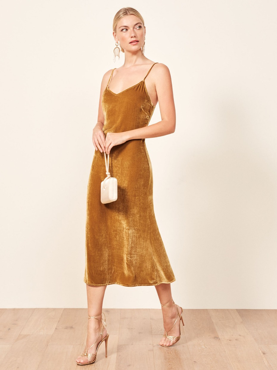 Reformation Gaia Dress in Gold Velvet