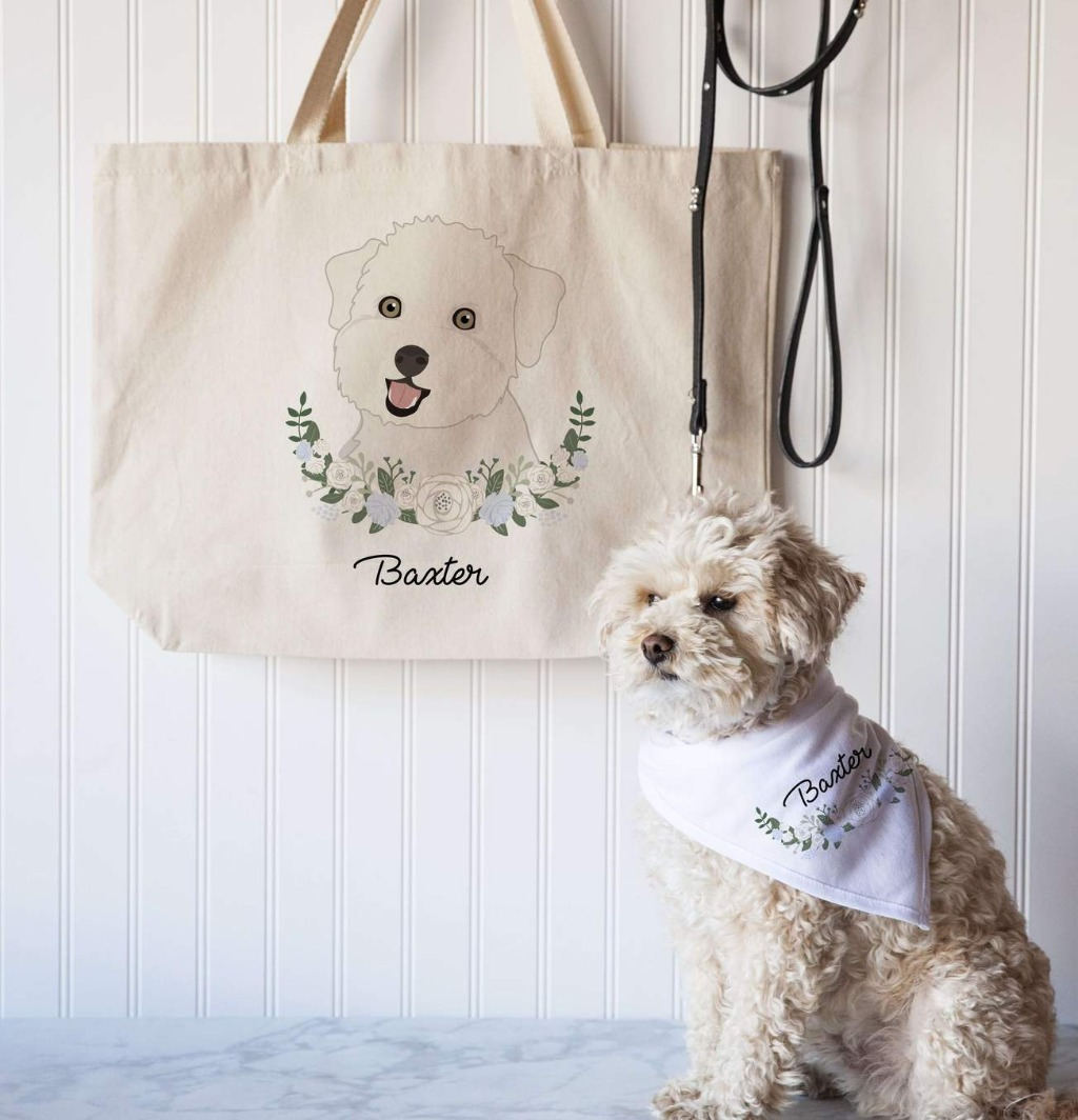 Get the pet lover in your life something they'll treasure!! This Dog Mom Gift Set with Custom Tote Bag and Dog Bandana is super stylish