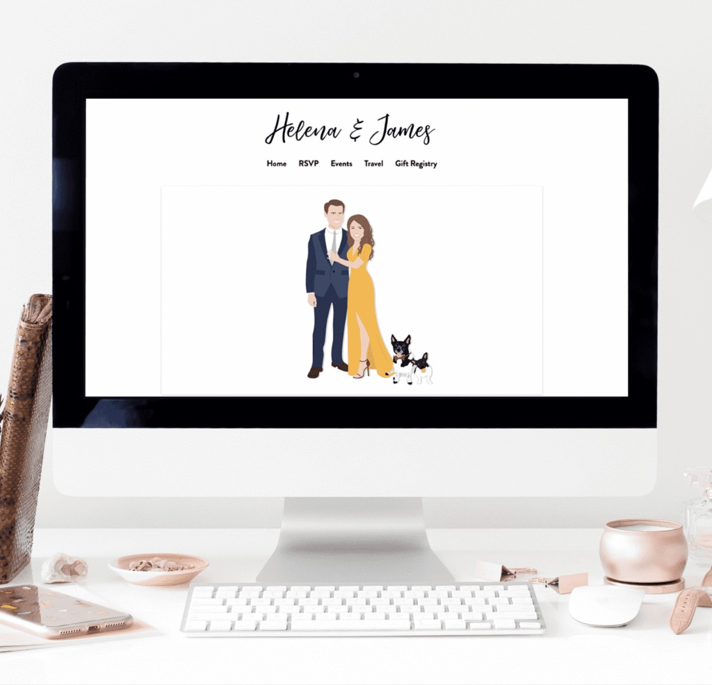Wedding websites are HUGE these days, and we can make planning yours a little easier! Our Custom Portrait Art for Wedding Website is