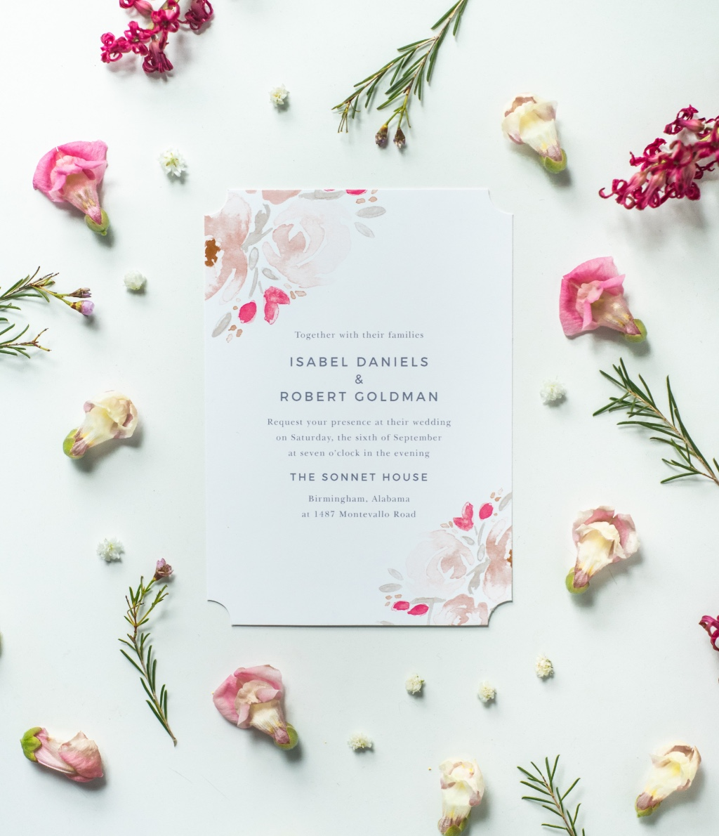 The Watercolor Bouquet Wedding Invitation looking pretty and pink
