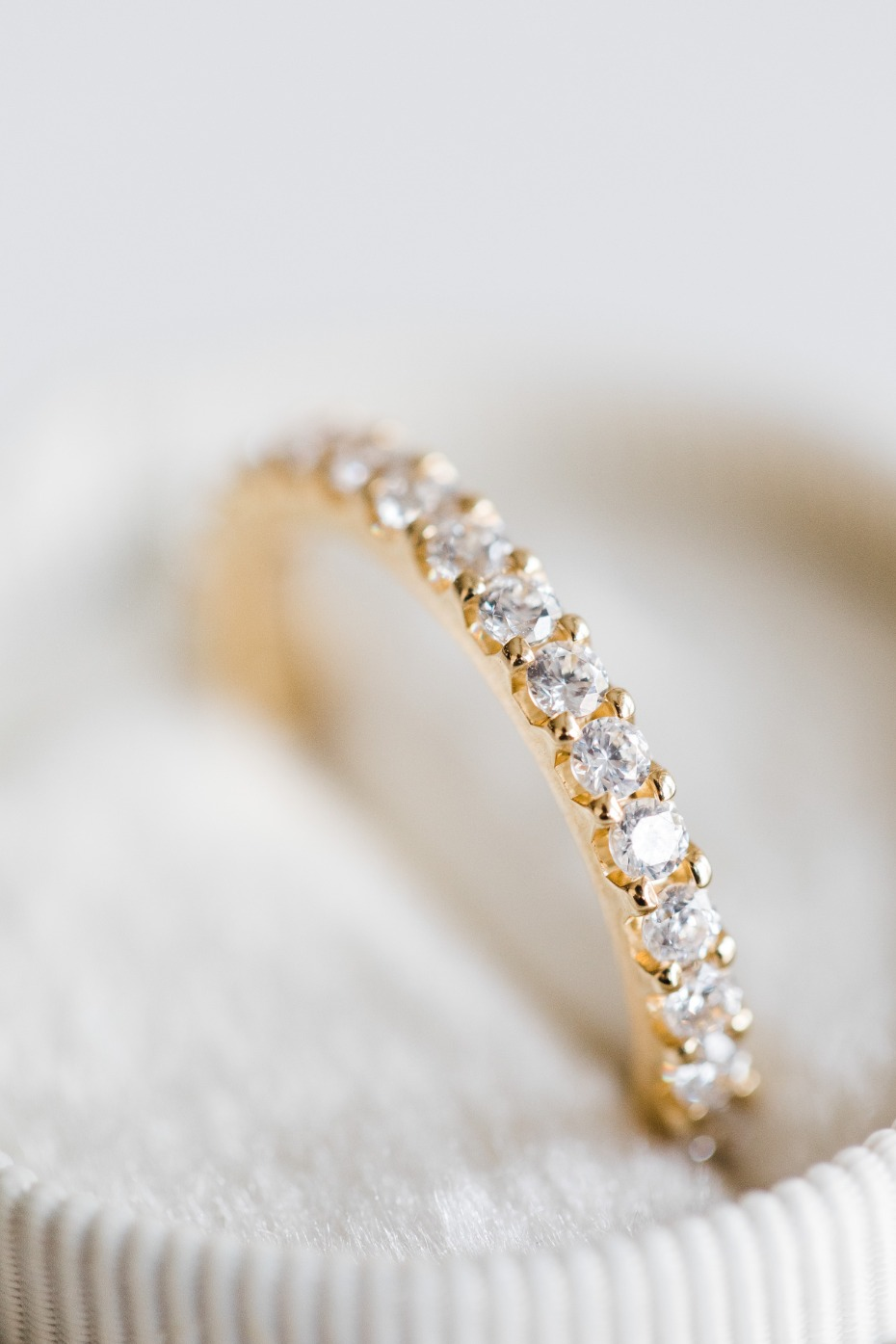 Eternity Wedding Bands Yellow Gold with Diamonds All Around