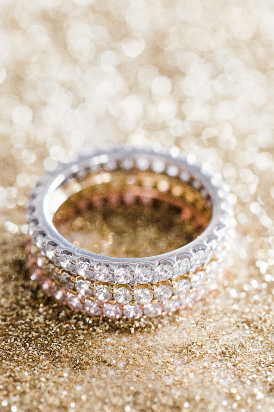 Eternity Wedding Bands Platinum Yellow and Rose Gold with Diamonds All Around