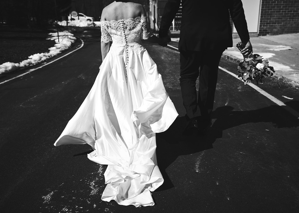 ALYSSA + MAX'S MARCH WEDDING. Bride's finery: Lea-Ann Belter Mary gown and Mackenzie jacket | photographer: Bri Johnson Photography