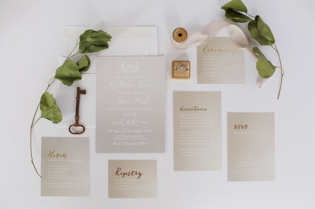 Natural colors with a gold foil pop! Shop this Rustic Ombre Wedding Suite for the most stunning invitations