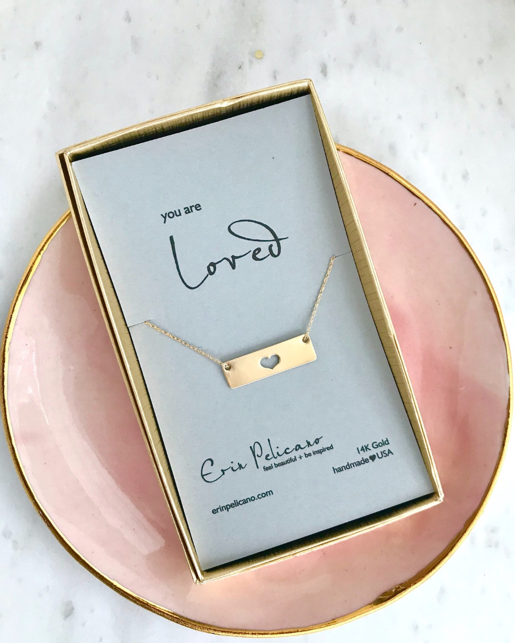 Gold Bar Heart Necklace, Handcrafted 14k gold Bar Jewelry for LOVE