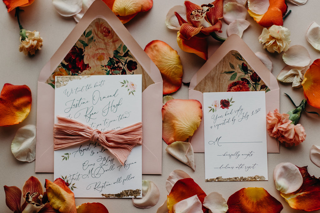 Fall wedding inspiration. Printed cherry wood liners, cotton paper and gold leaf. Please email for pricing and additional product information