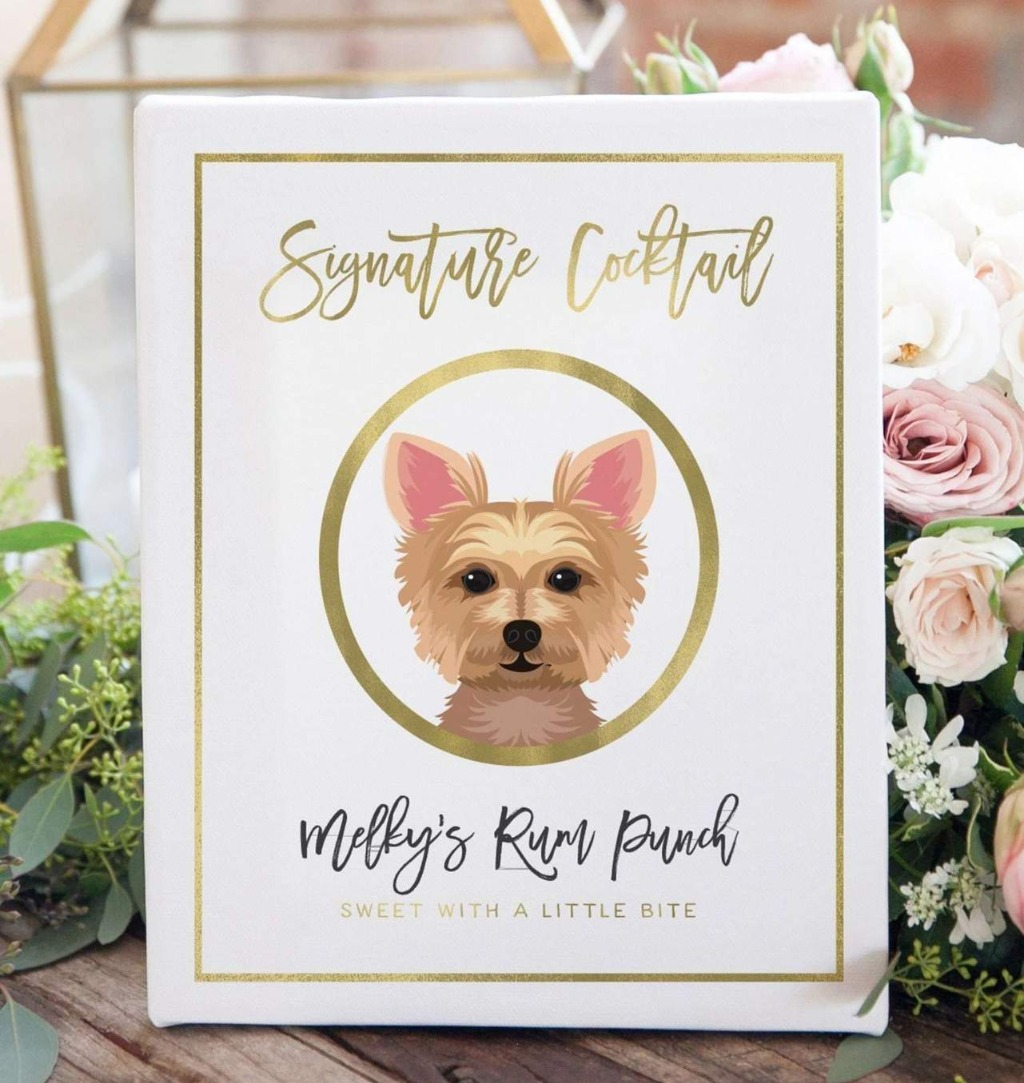 We LOVE a good Signature Cocktail sign, and this Signature Cocktail Wedding Sign with Pet Portrait is perfect if you'd like to incorporate