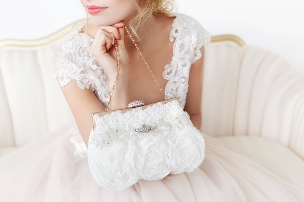 Simple yet elegant this is the perfect bridal clutch