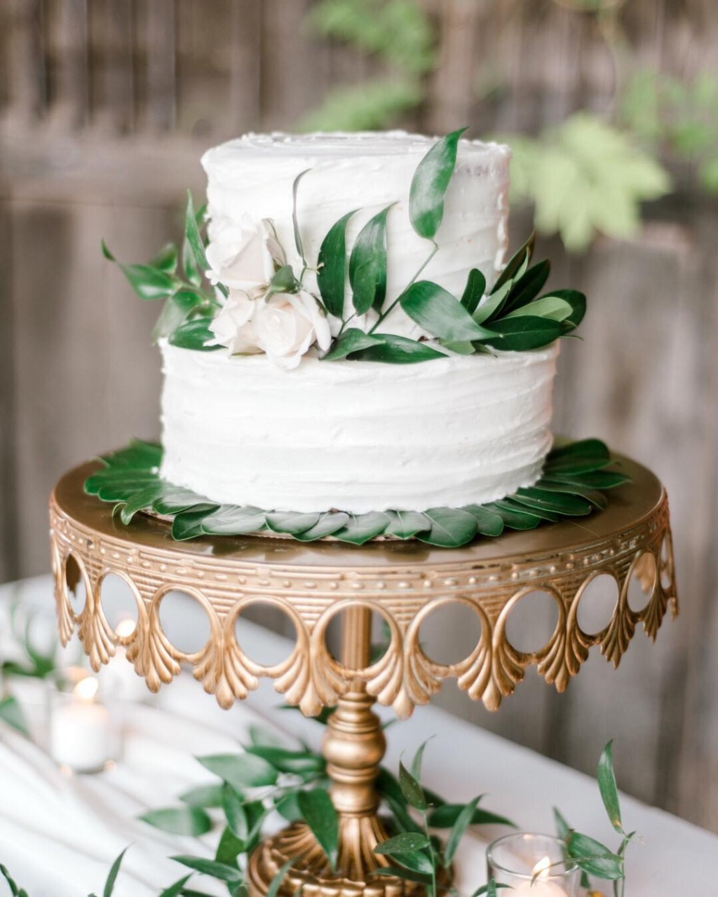 🍃Simply Stunning 🍃Wedding Cake on Antique Gold Crown Pedestal Cake Stand created by Opulent Treasures with L❤︎VE! { photo