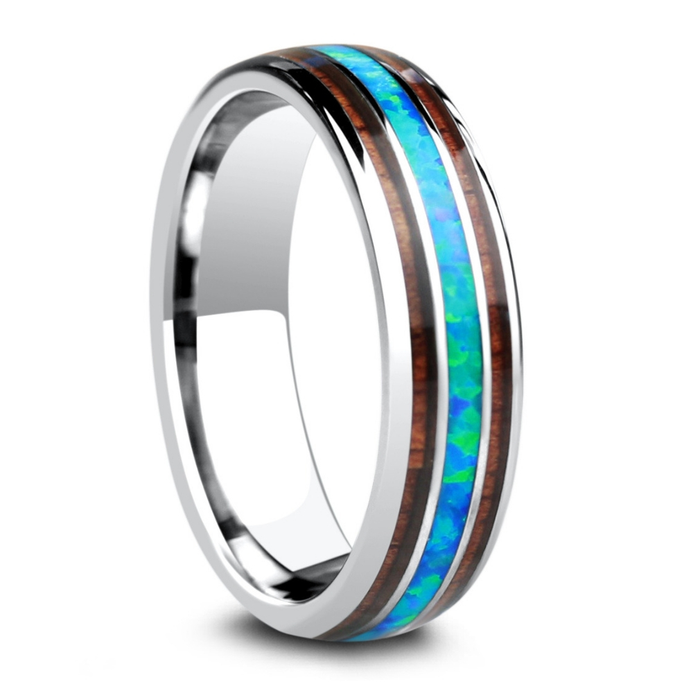 Opal and wood wedding ring crafted out of tungsten. This ring is extremely comfortable and durable.