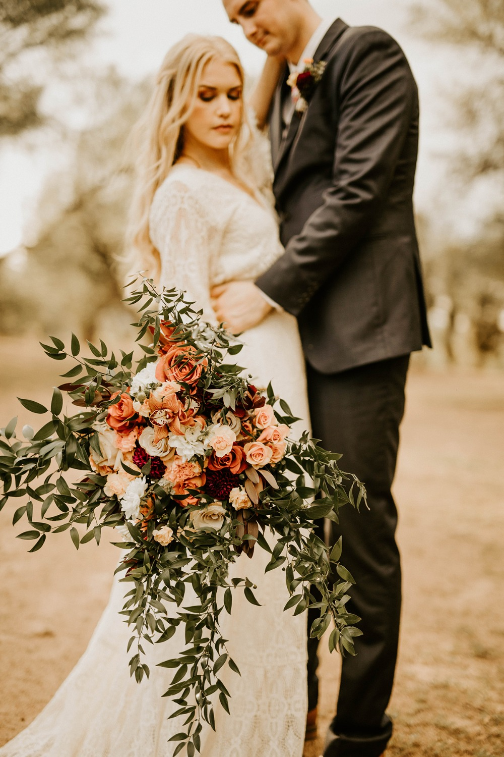 cascading boho wedding bouquet
