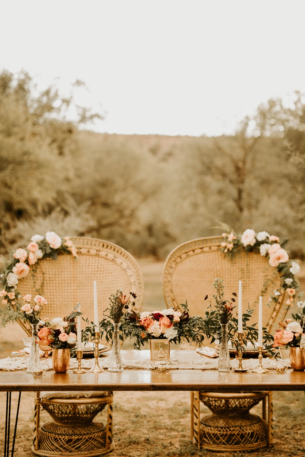 romantic boho inspired wedding table decor