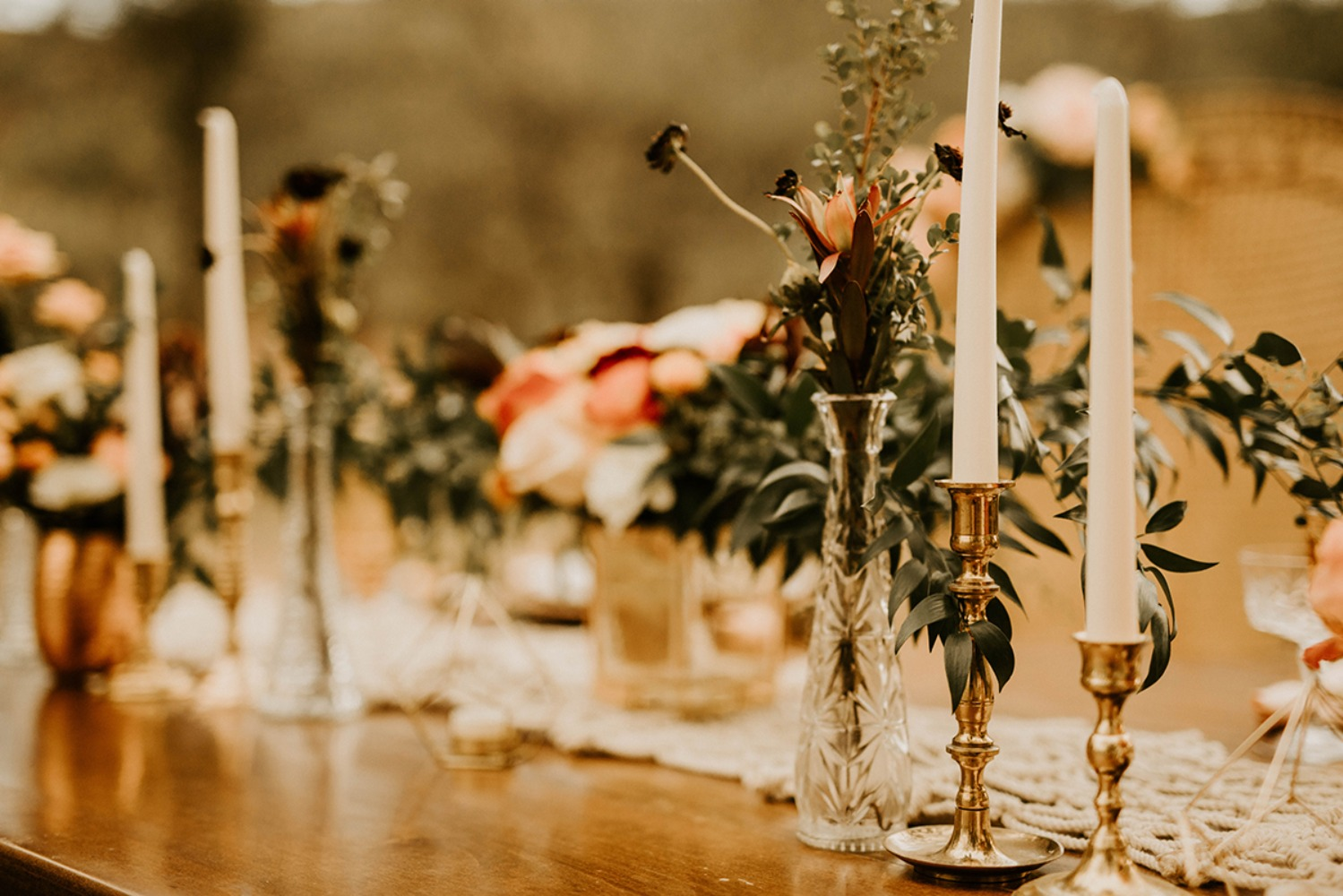 fall boho inspired table decor