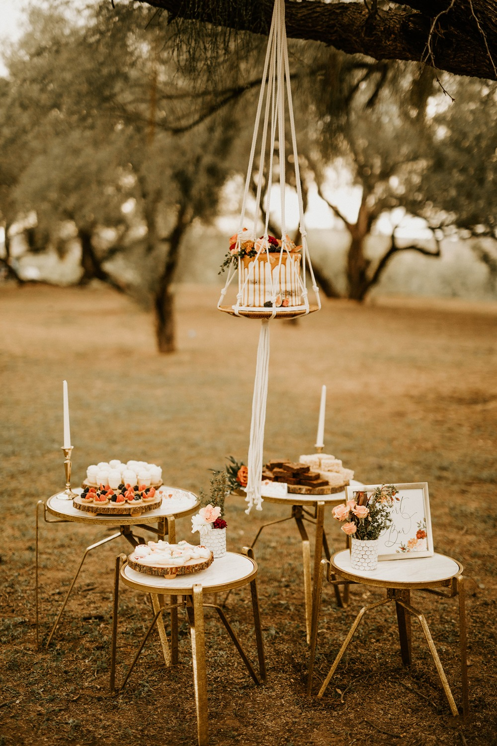 boho wedding dessert bar