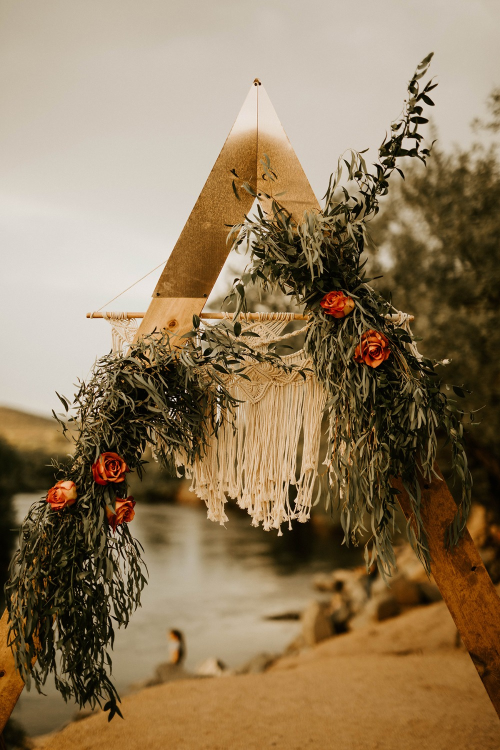 modern boho inspired wedding backdrop