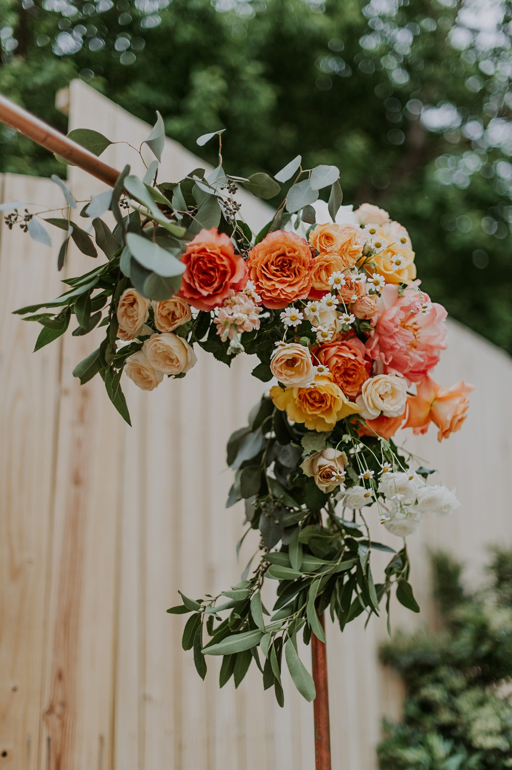 orange yellow and peach floral decor