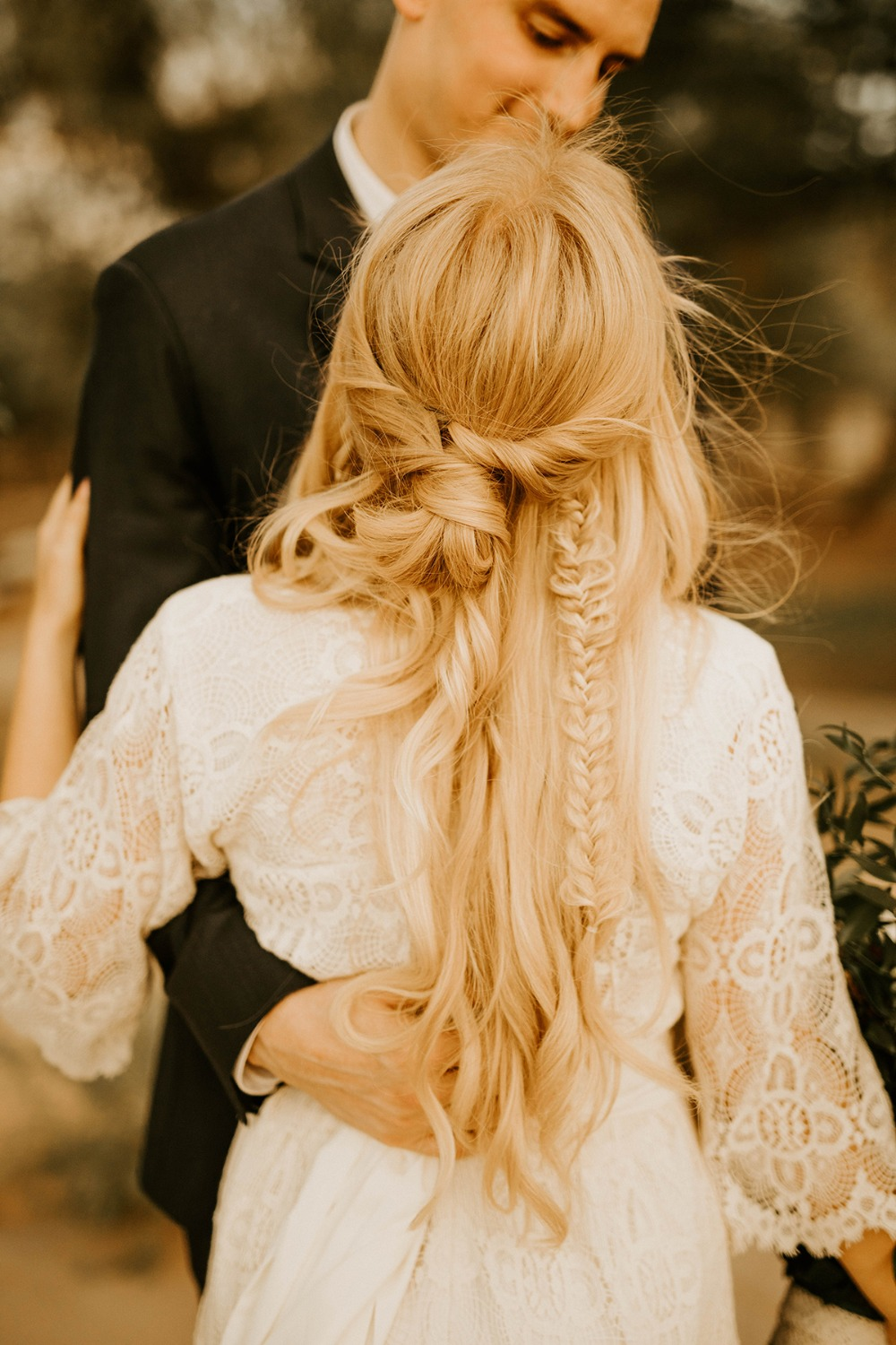 half up boho wedding hair