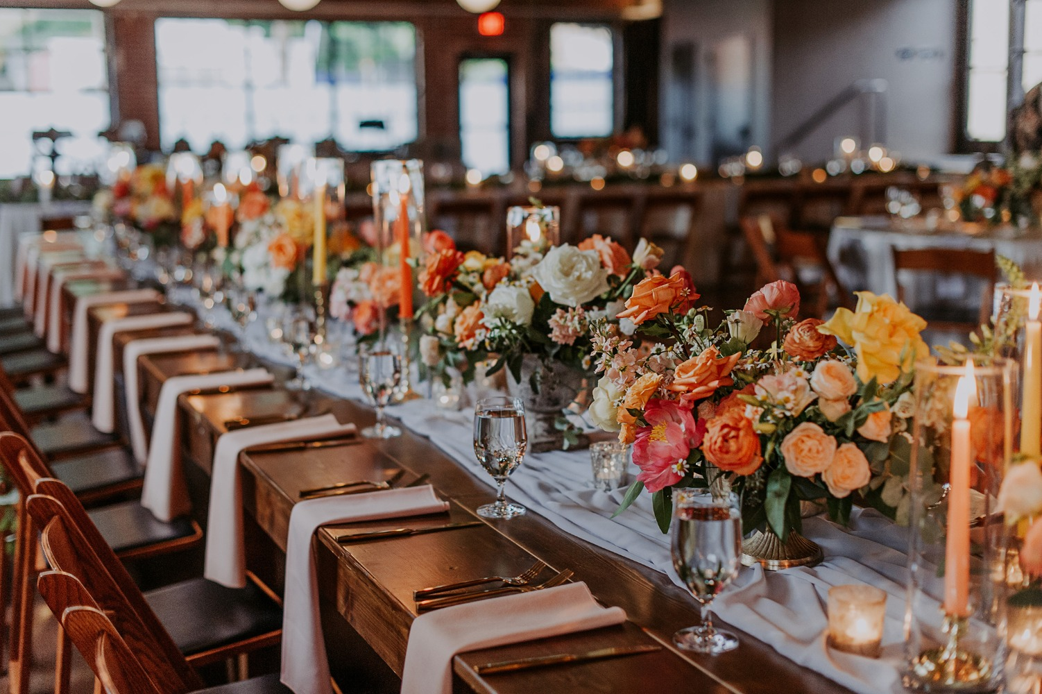 orange and yellow wedding decor