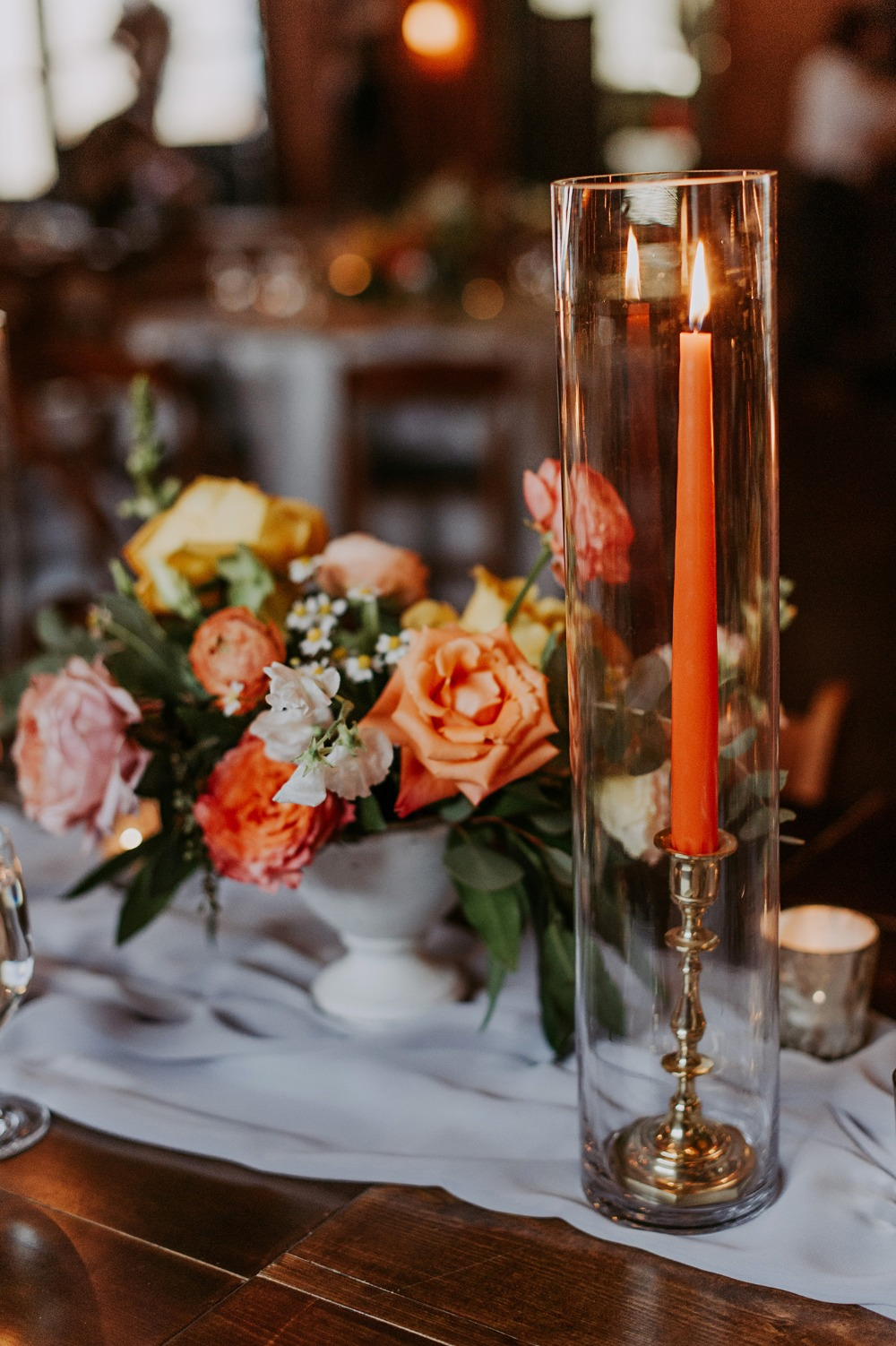 pillar wedding candle centerpiece