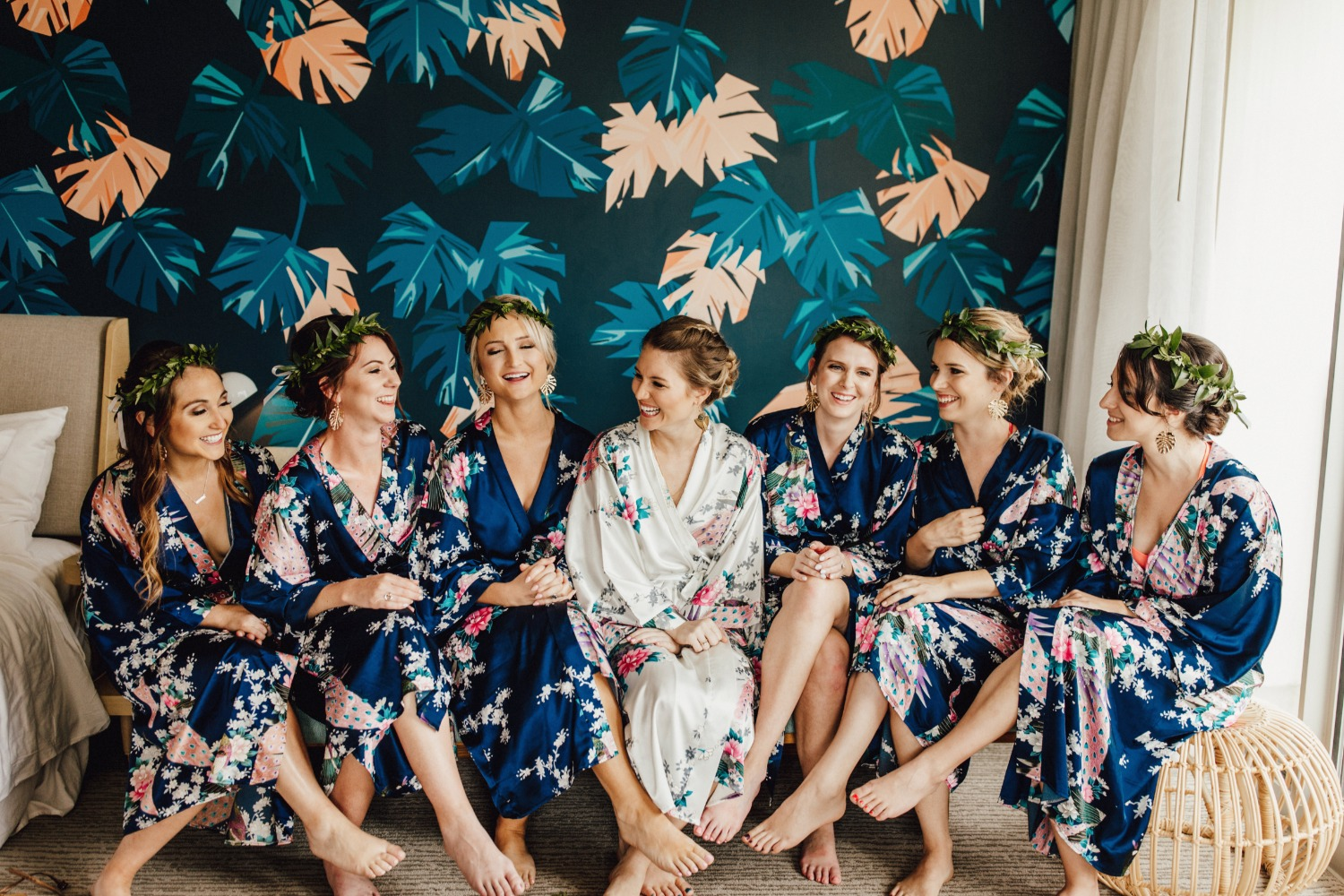Floral robes for a tropical wedding
