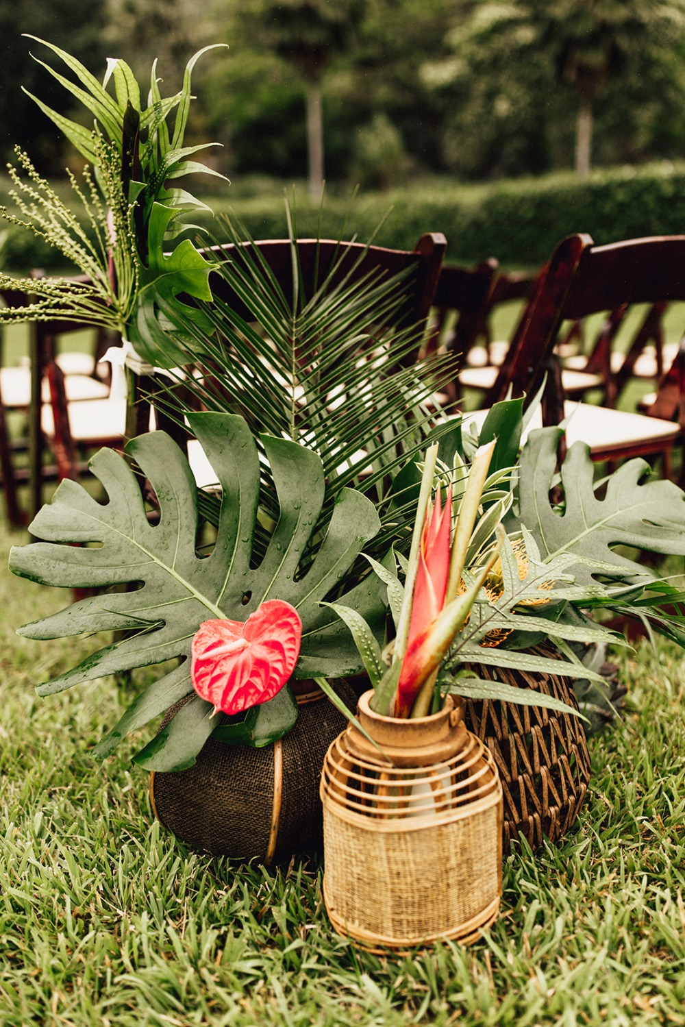 Tropical decor at Kualoa Ranch wedding