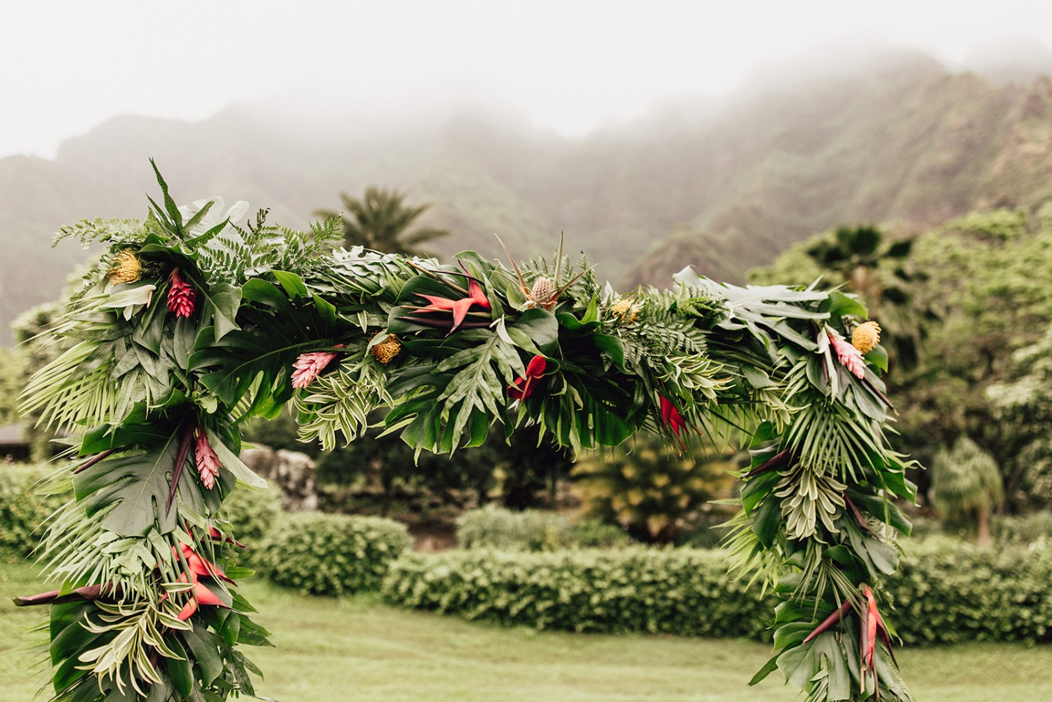 Tropical ceremony arch