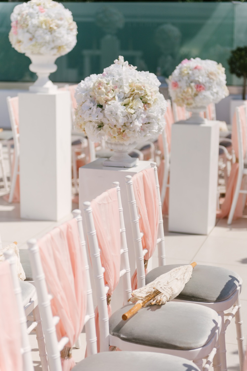 pink and white wedding seating