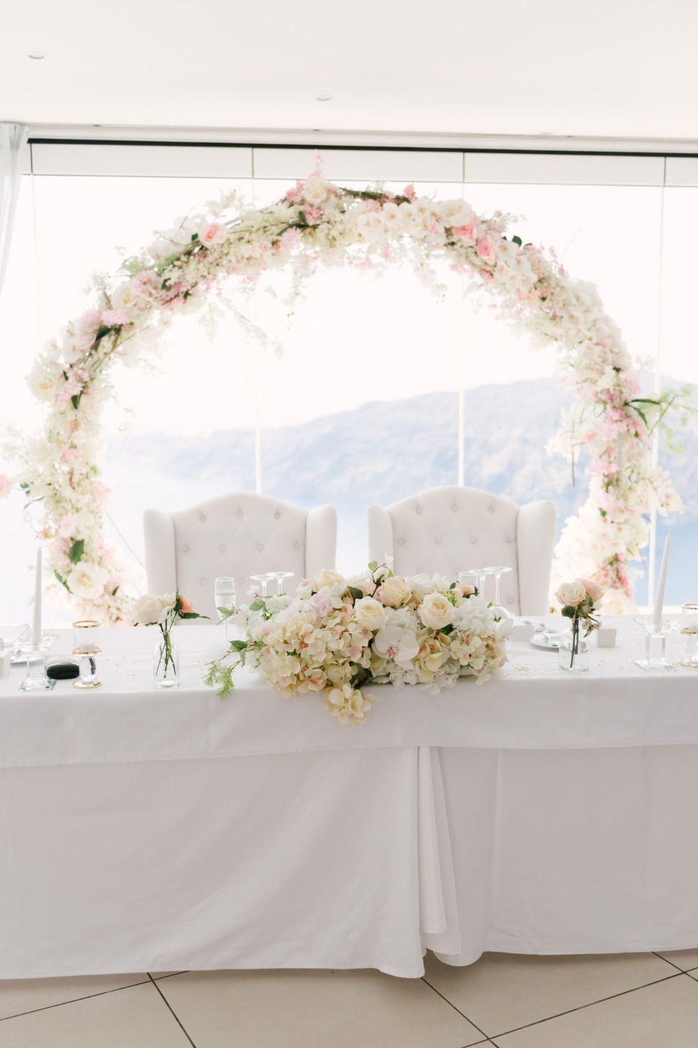 all white wedding table