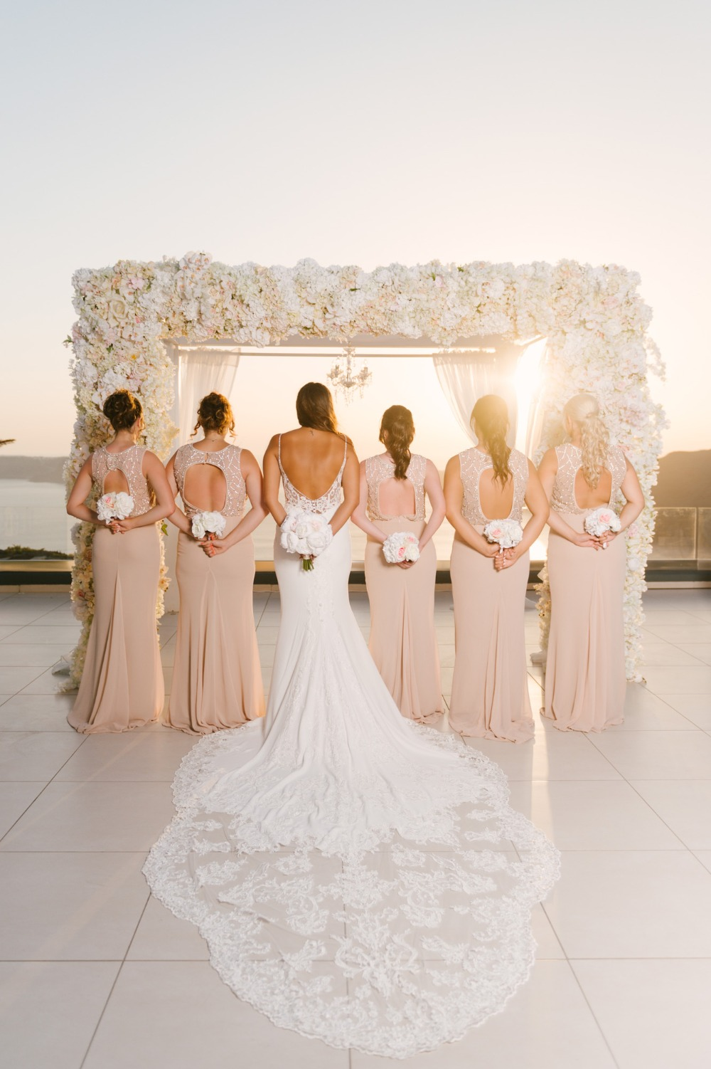bridal party in sparkling dresses