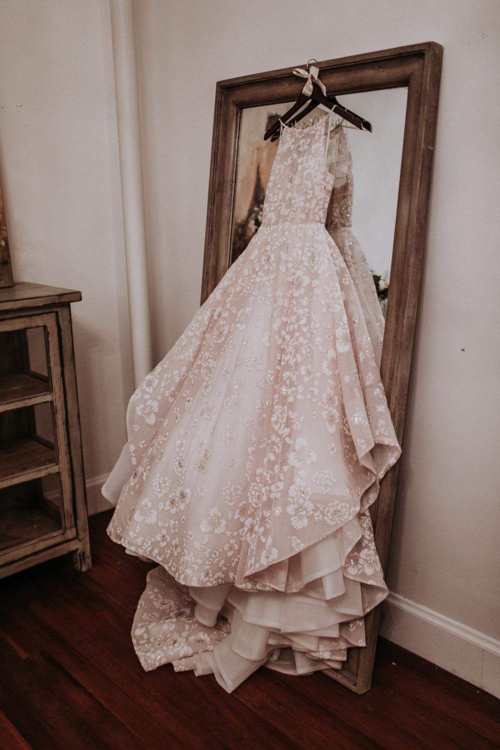 floral accented wedding dress by Hayley Paige