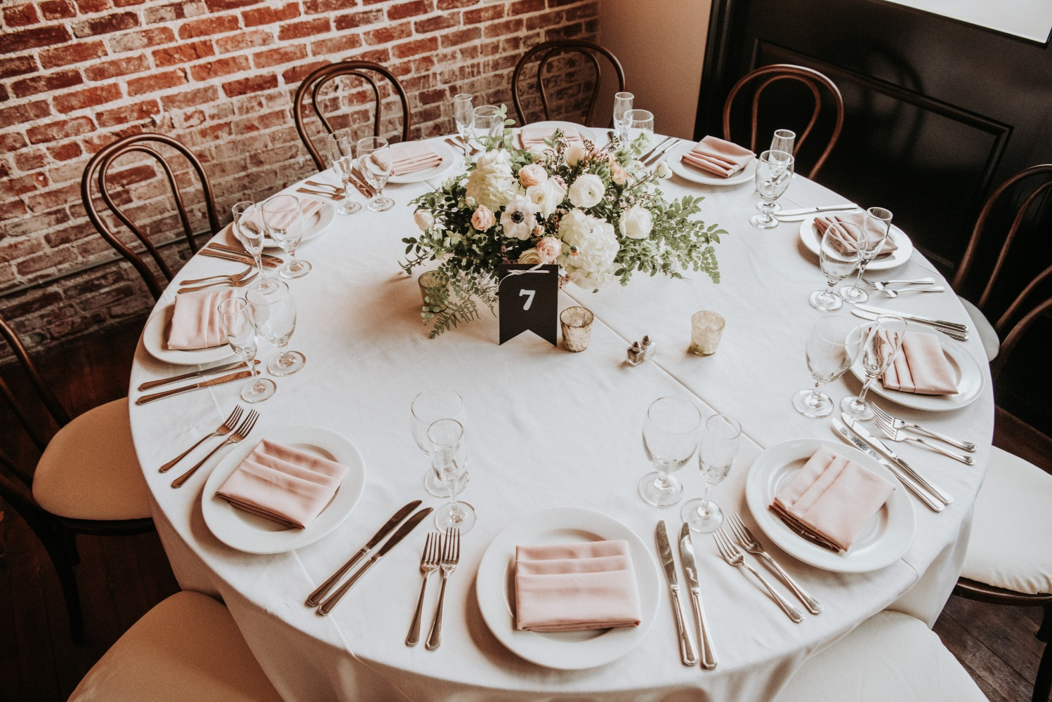 white and soft blush table decor