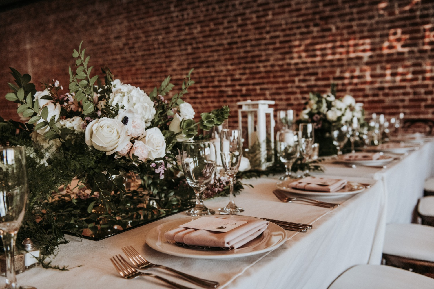 wedding table decor in white and soft blush