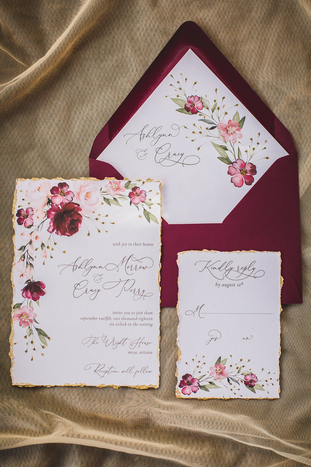 Watercolor florals on cotton paper. Features hand-torn and hand-painted gold edges. Please email for additional information.