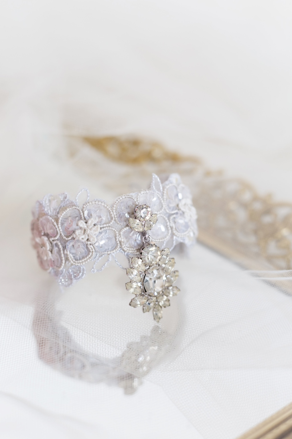 Bespoke bridal cuff beautiful designed with a gorgeous vintage jewel