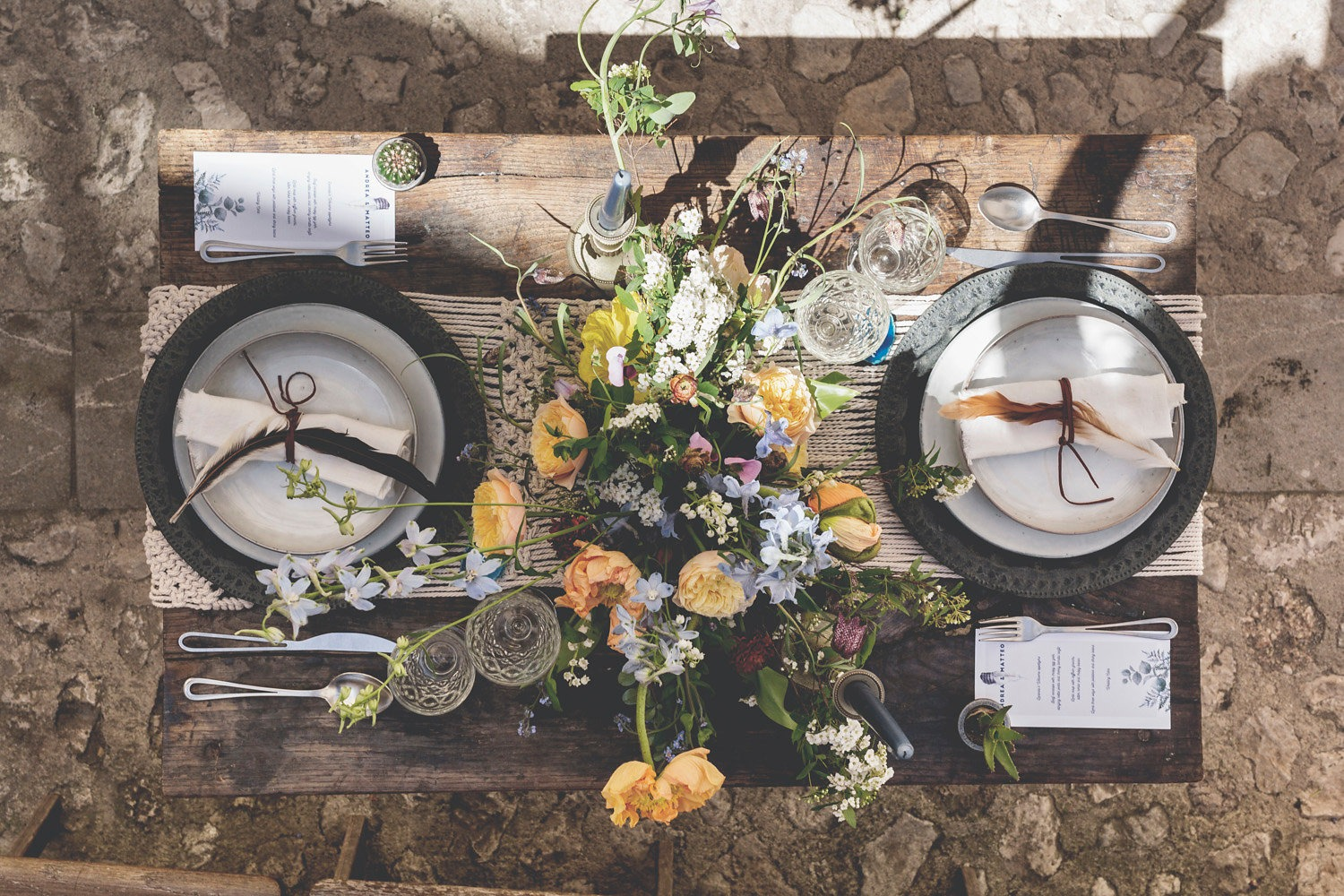 romantic and masculine boho chic table decor