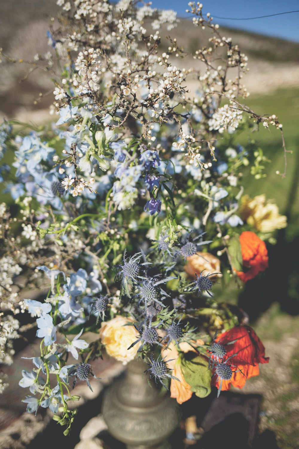 wildflower style wedding floral decor