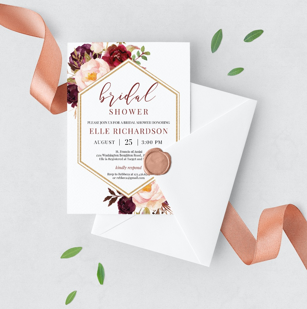GORGEOUS MARSALA AND GOLD GEOMETRIC SHAPE INVITATION, features hand painted watercolor burgundy and blush pink flowers with fresh greenery