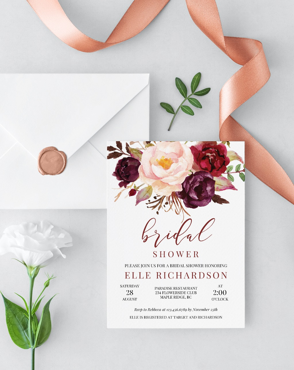 AMAZING BORDO AND PINK FLOWERS INVITATION, features hand painted watercolor burgundy and blush pink flowers, accented by elegant calligraphy