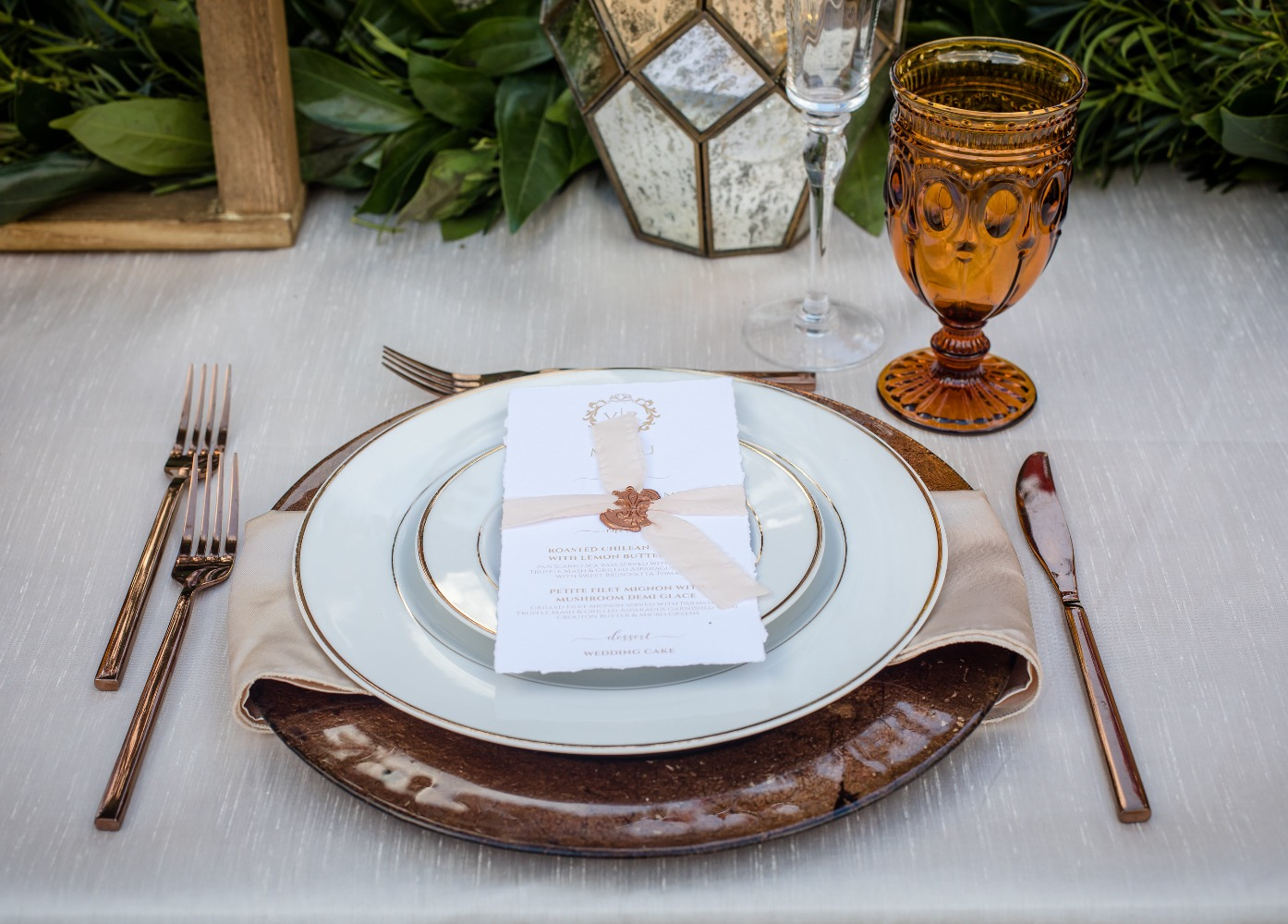 Formal wedding place setting idea