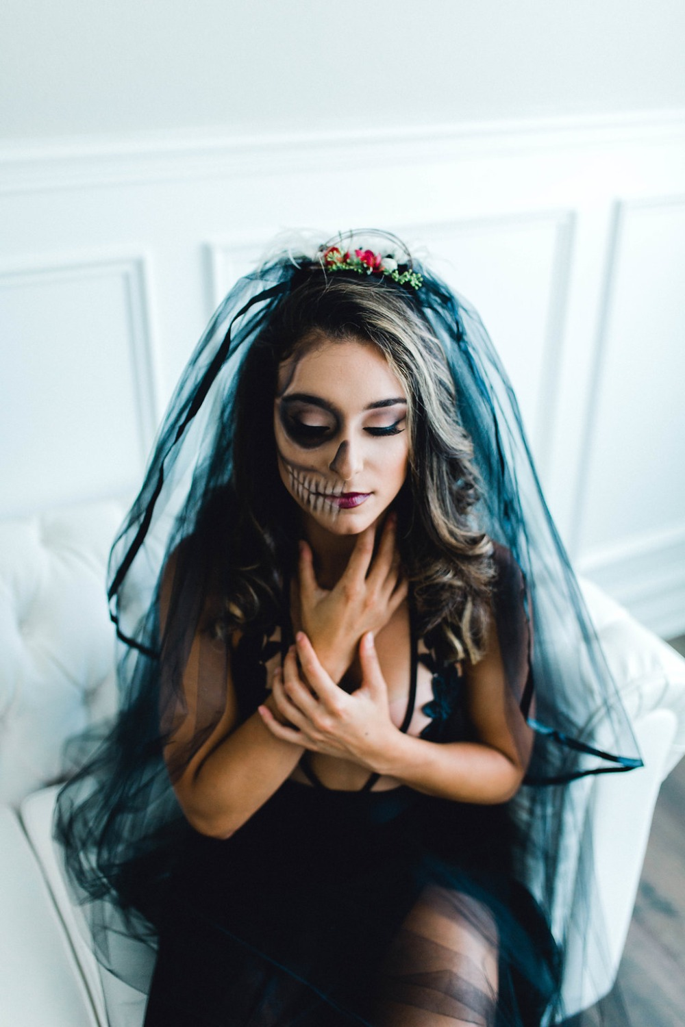 For the bride-to-be, a sexy Halloween inspired boudoir session