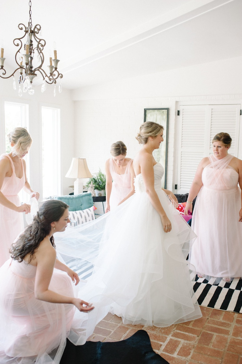 Bride getting ready before first look in the Spotswood Lodge at The Market at Grelen