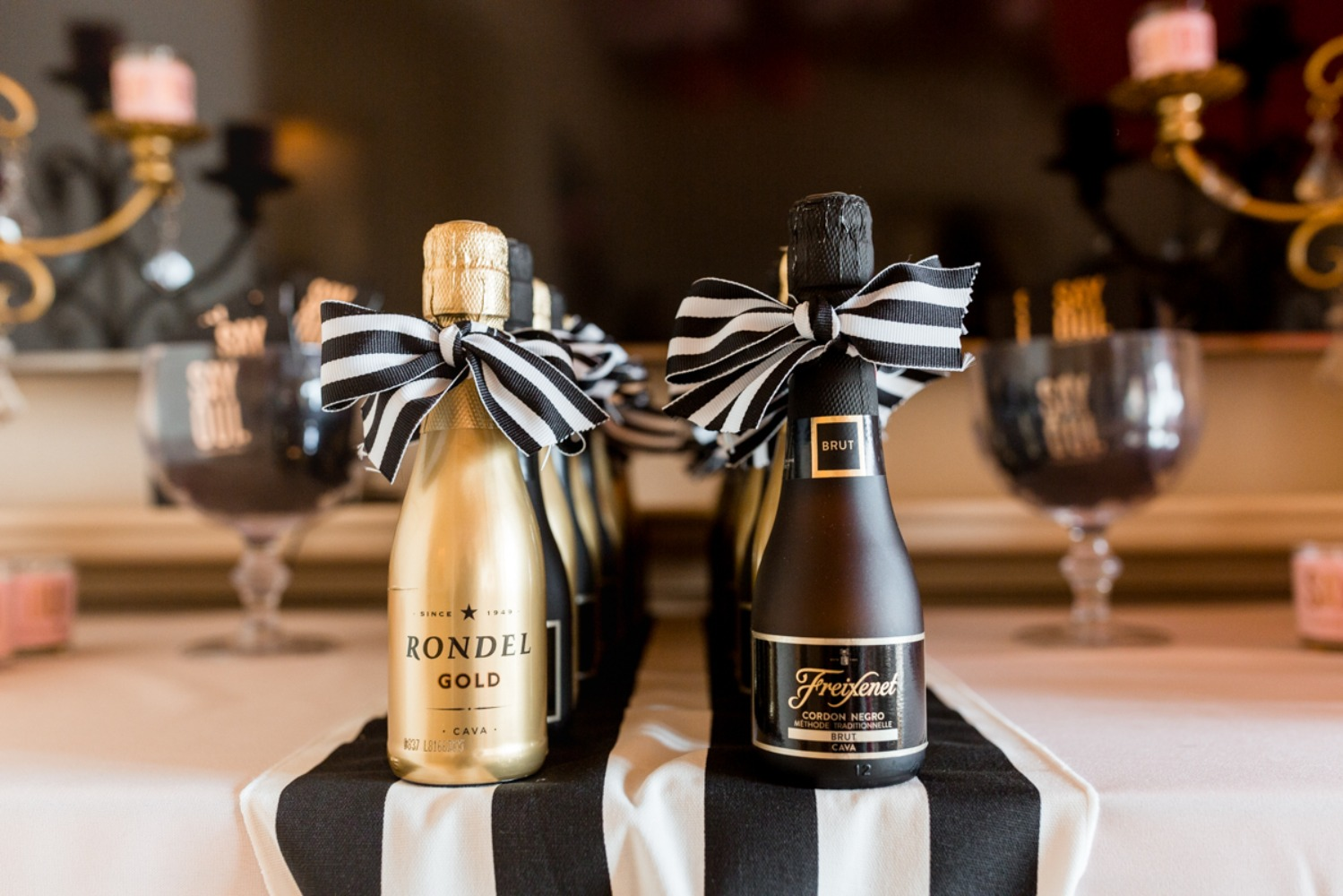 mini bottles of champagne favors