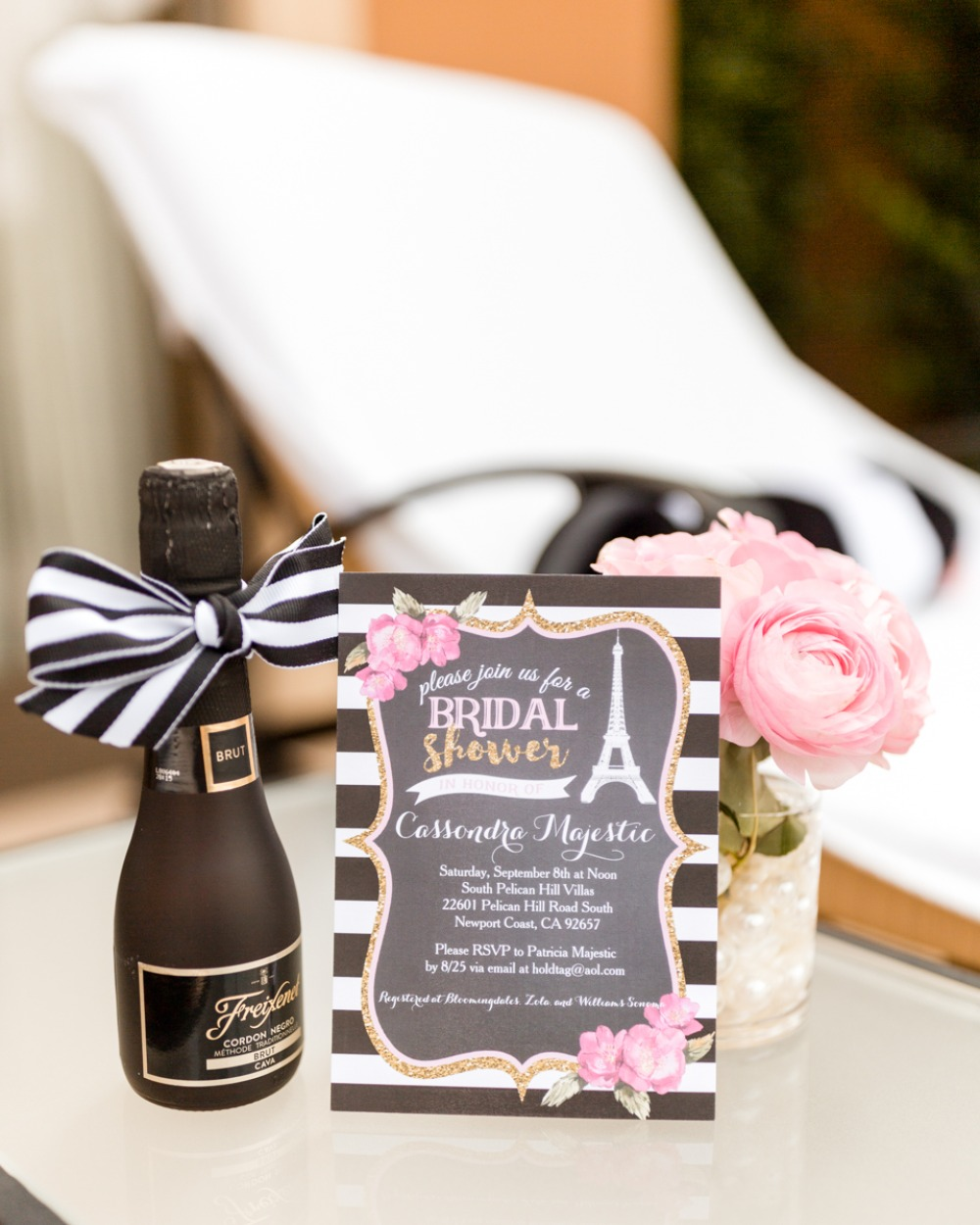 bold Paris themed bridal shower invitation