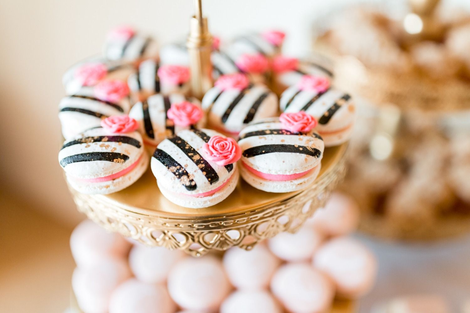 black white and pink macarons
