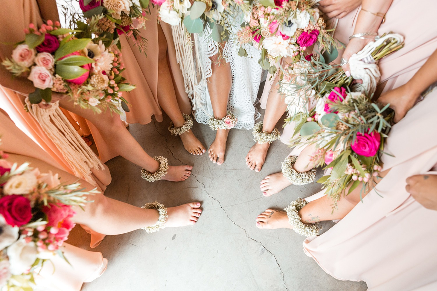 Floral anklets for the bride and bridesmaids