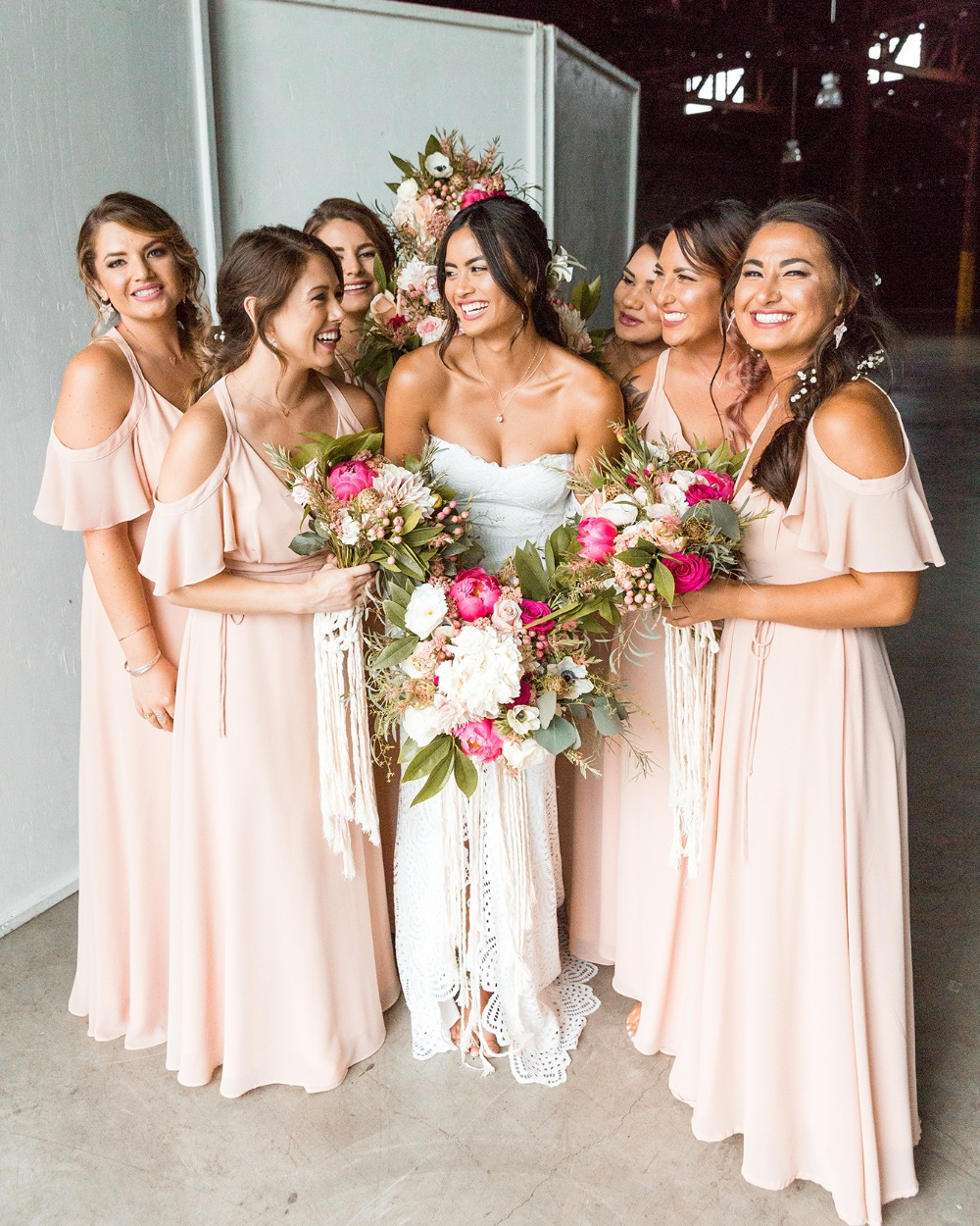 off-shoulder bridesmaid dresses